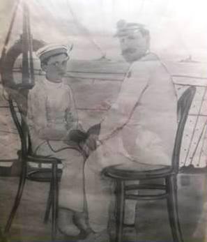 un giovanissimo principe Umberto II e Alfredo Volpe - www.lavocedelmarinaio.com