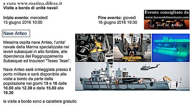 15-16.6.2016 a Messina visite al pubblico a bordo di nave Anteo - www.lavocedelmarinaio.com