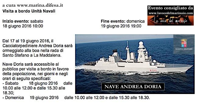 18-19.6.2016 a LaMaddalena visite al pubblico a bordo di nave Doria - www.lavocedelmarinaio.com