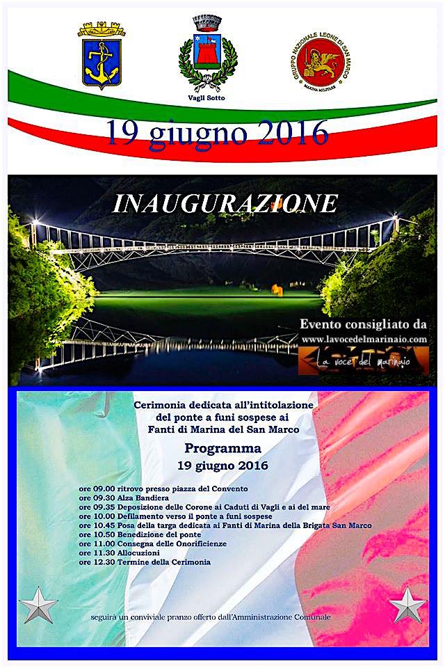 19.6.2016 a Vagli Sotto intitolazione ponteai Fanti di Marina - www.lavocedelmarinaio.com