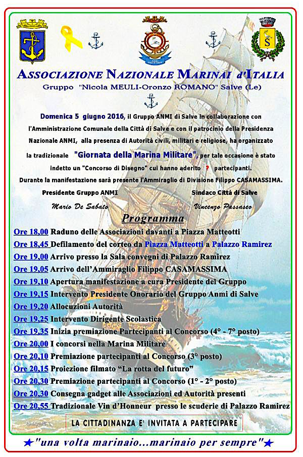 5.6.2016 a Salve Giornata della Marina - www.lavocedelmarinaio.com