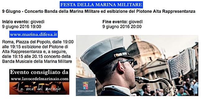 9.6.2016 a Roma esibizione Banda della Marina Militare - www.lavocedelmarinaio.com