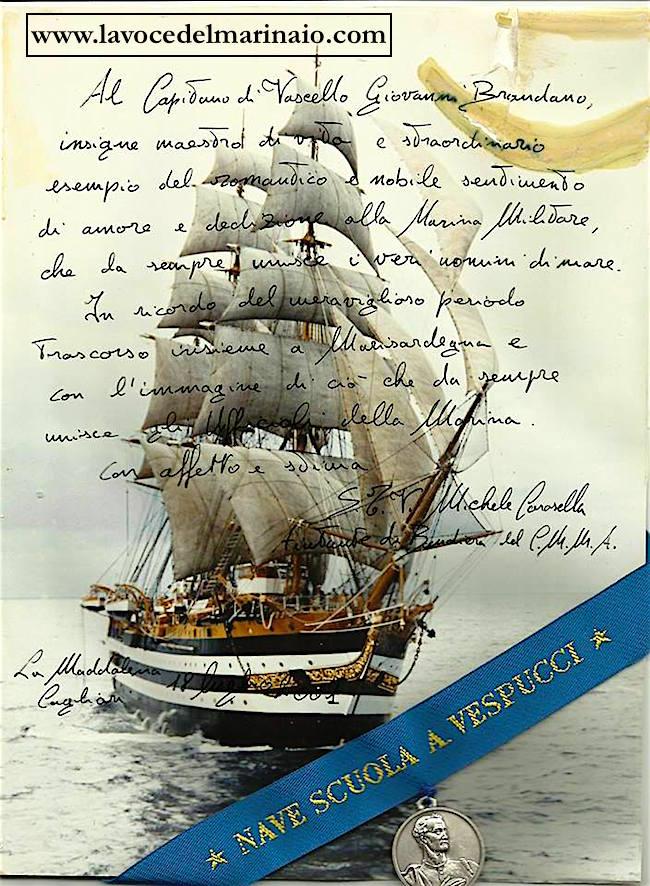 Giovanni Brandano e nave Vespucci - www.lavocedelmarinaio.com