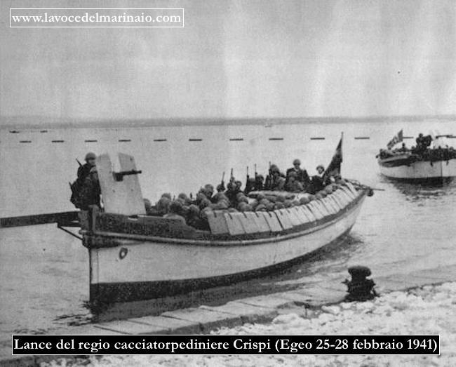 Lance del regio cacciatorpediniere Crispi - Castelrosso (Egeo) 25-20.2.1941 - www.lavocedelmarinaio.com