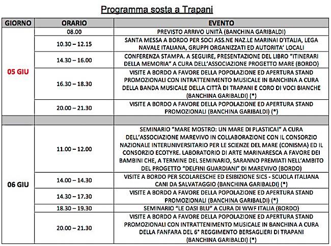 Programma dettagliato sosta nave vespucci in Treapani - www.lavocedelmarinaio.com