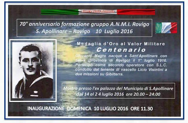 10-24.7.2016 a Rovigo celebrazioni 70° anniverario del gruppo A.N.M.I. in ricordo di Giovanni Magro - www.lavocedelmarinaio.com