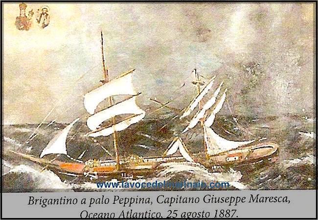 25.8.1887 Ex voto - Brigantino a palo Peppina, Capitano Giuseppe Maresca - www.lavocedelmarinaio.com