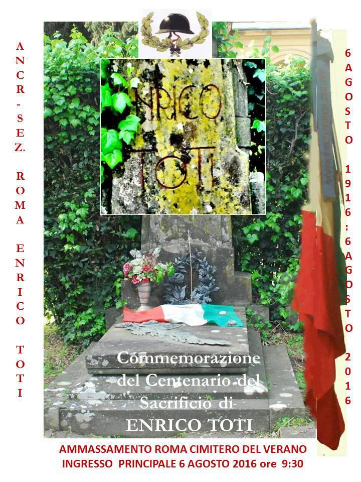 6.8.2016 a Roma cimitero Verano commemorazione Enrico Toti