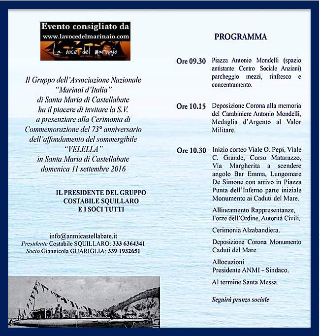 11.9.2016 a Castellabate - programma cerimonia in ricordo vittime del sommergibile Velella - www.lavocedelmarinaio.com