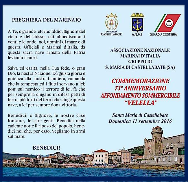 11.9.2016 a Santa Maria di Castellabate - commemorazione 73° anniversario affondamento sommergibile Velella - www.lavocedelmarinaio.com