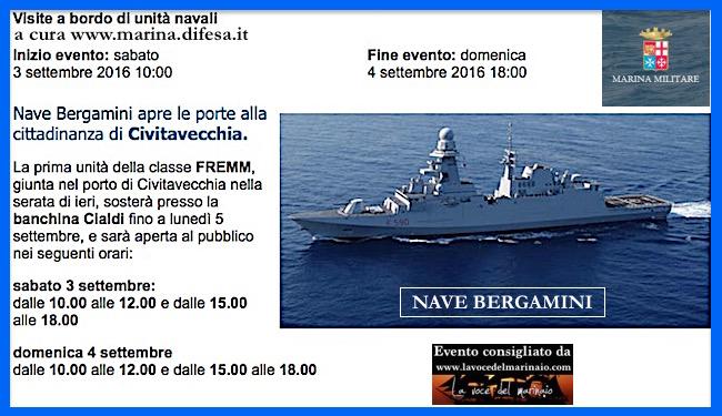 3-4.9.2016 a Civitavecchia visite al pubblico a bordo di nave Bergamini - www.lavocedelmarinaio.com