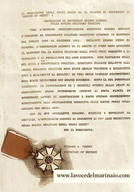 Legione di Merito concessa all'ammiraglio Egidio Alberti - www.lavocedelmarinaio.com