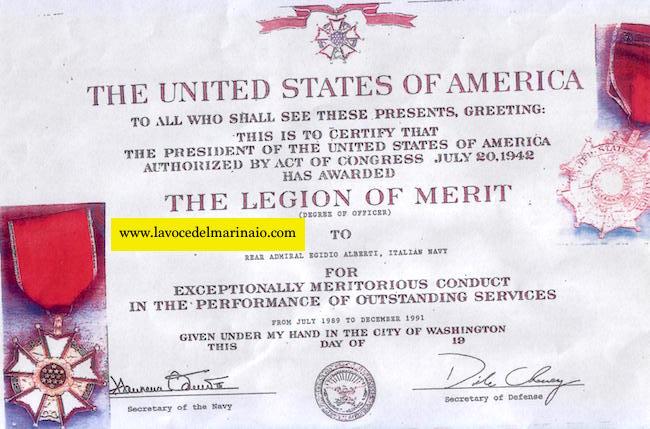 The legion of merit concessa all'ammiraglio Egidio Alberti - www.lavocedelmarinaio.com