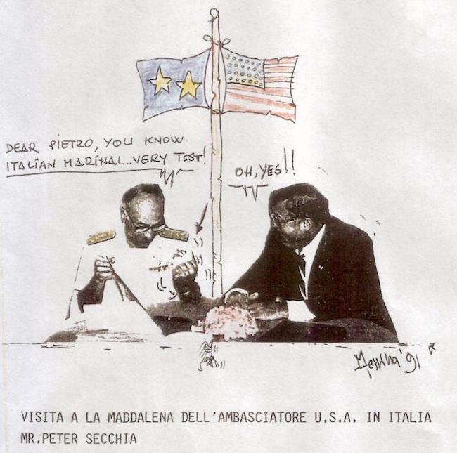 Visita a La Maddalena (1991) di Peter Secchia - vignetta di Luciano Messina per www.lavocedelmarinaio.com