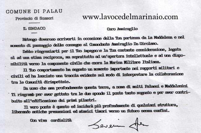 testimonianza del sindaco di Palau - www.lavocdelmarinaio.com