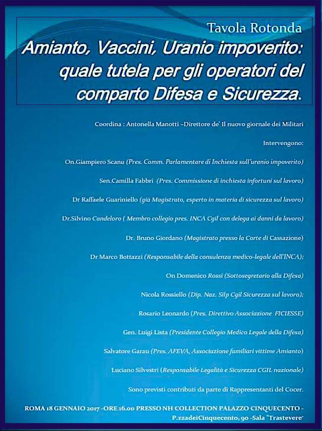 18.1.2017 a Roma Tavola Rotonda Amianto, vaccini, uranio impoverito quale tutela per gli operatori del comparto difesa e sicurezza - www.lavocedelmarinaio.com