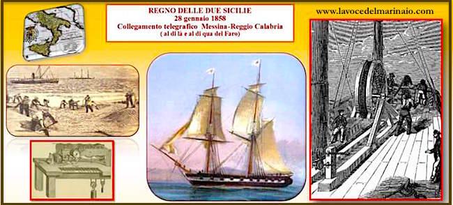 28.1.1858 collegamento telegrafico Messina - Reggio Calabria - www.lavocedelmarinaio.com