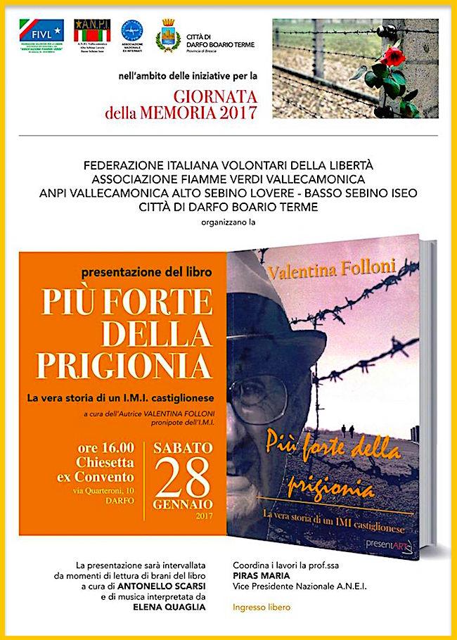 28.1.2017 a Darfo Boario Terme presentazione del libro Più forte della prigionia di Valentina Folloni - www.lavocedelmarinaio.com