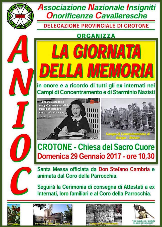 29.1.2017 a Crotone per ricordare ex internati nei campi di concentramento e sterminio nazisti - www.lavocedelmarinaio.com