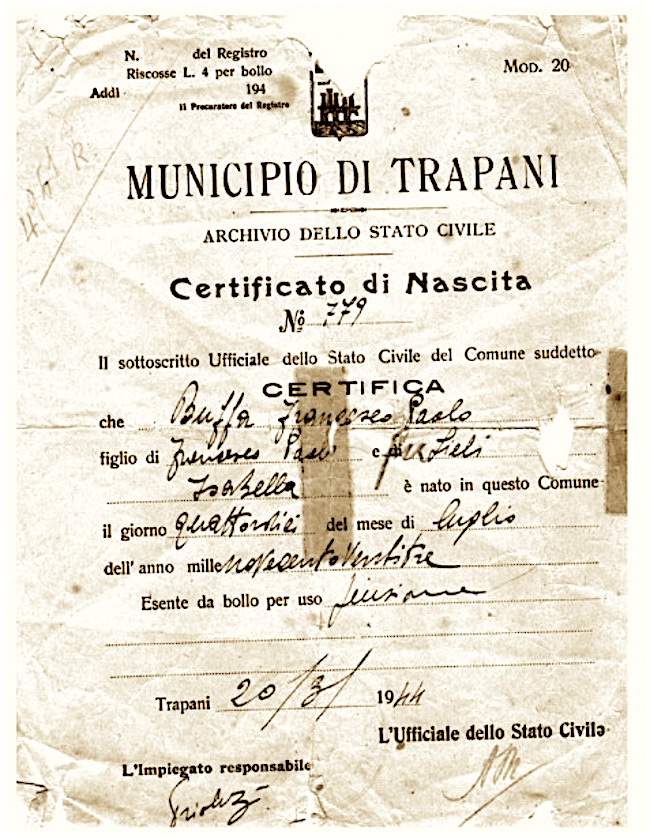 Certificato di nascita di Francesco Paolo Buffa - www.lavocedelmarinaio.com
