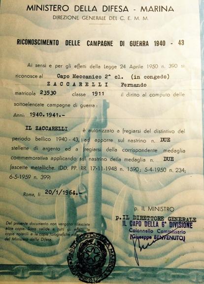 Concessione onorificienze a Fernando Zaccarelli f.p.g.c. Giuseppe Zaccarelli a www.lavocedelmarinaio.com