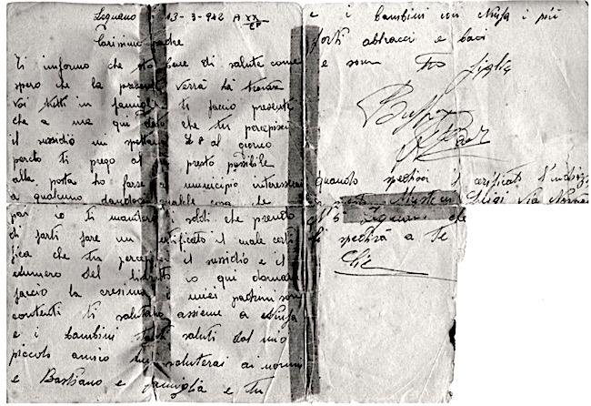Lettera di Raffaele Buffa spedita al fratello Franscesco - www.lavocedelmarinaio.com
