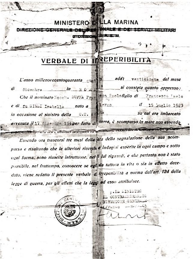 Verbale di irreperibilità di Francesco Paolo Buffa - www. lavocedelmarinaio.com
