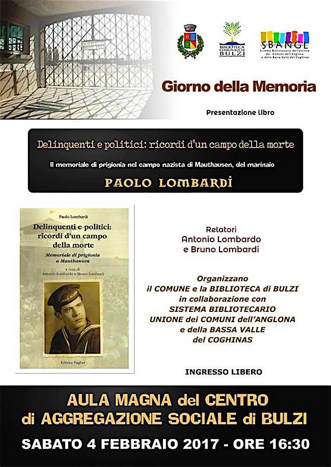 4.2.2017 a Bulzi presentazione de libro Delinquenti e politici ricordi d'un campo della morte di Paolo Lombardi - www.lavocedelmarinaio.com