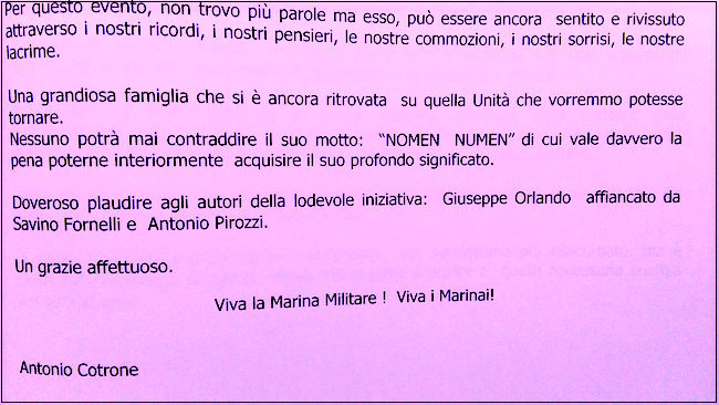 Dedica di Antonio Cotrone a Giuseppe Orlando - www.lavocedelmarinaio.com