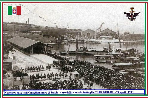24 aprile 1913 varo della nave da battaglia Caio Duilo - www.lavocedelmarinaio.com