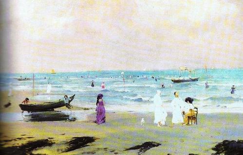 Venezia - Il Lido -  Olio su tela 74x92 di Italico Brass (1909)