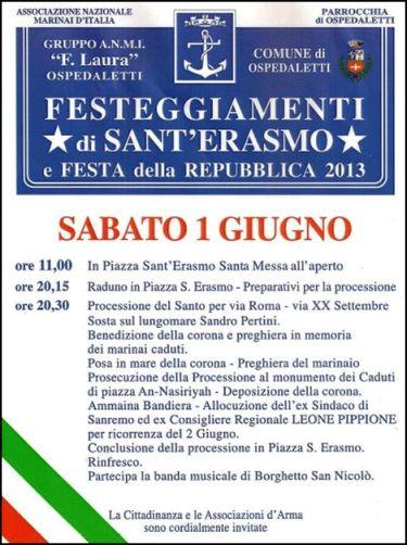1.6.2013 Ospedaletti festa Sant'Erasmo www.lavocedelmarinaio.com