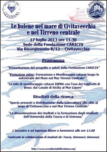 Le balene nel mare di Civitavecchia e nel Tirreno Centrale - locandina - copia www.lavocedelmarinaio.com