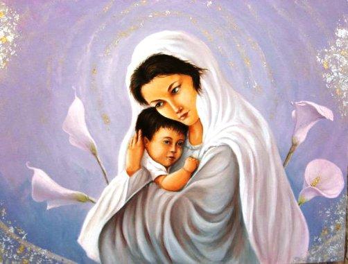 Madonna con Bambino dipinto di Toty Donno (diritti riservati dall'autore) per gentile concessione a www.lavocedelmarinaio.com