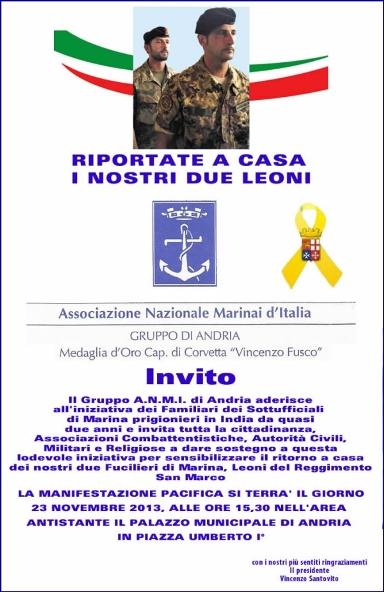 23.11.2013 ad Andria per i due Marò - www.lavocedelmarinaio.com