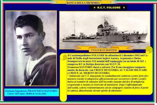 2.12.1942 Francesco Santoro e la regia nave Folgore - www.lavocedelmarinaio.com