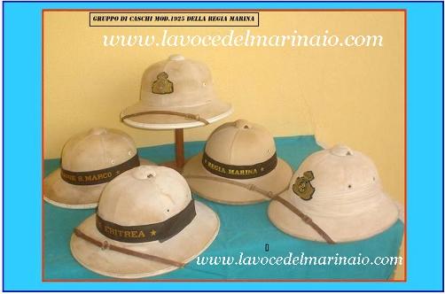 Gruppo di caschi Mod. 1925 della Regia Marina - www.lavocedelmarinaio.com