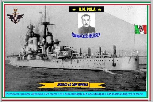 29 marzo 1941, Catello Maresca Marinaio, disperso della R.N. Pola acque antistanti a Capo Matapan
