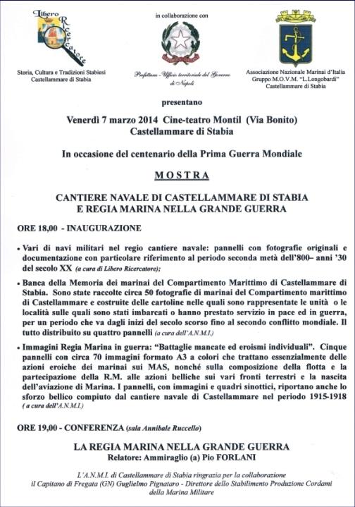 7-21 marzo 2014 a Castellammare di Stabia mostra su centenario grande guerra e cantiere navale - www.lavocedelmarinaio.com