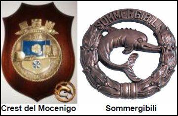 Crest Mocenigo e Spilla dei sommergibilisti (f.p.g.c. Amilcare a www.lavocedelmarinaio.com)