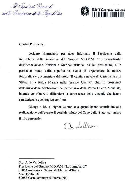 Lettera Encomio della Presidenza della Repubblica ad a ANMI STABIA - www.lavocedelmarinaio.com