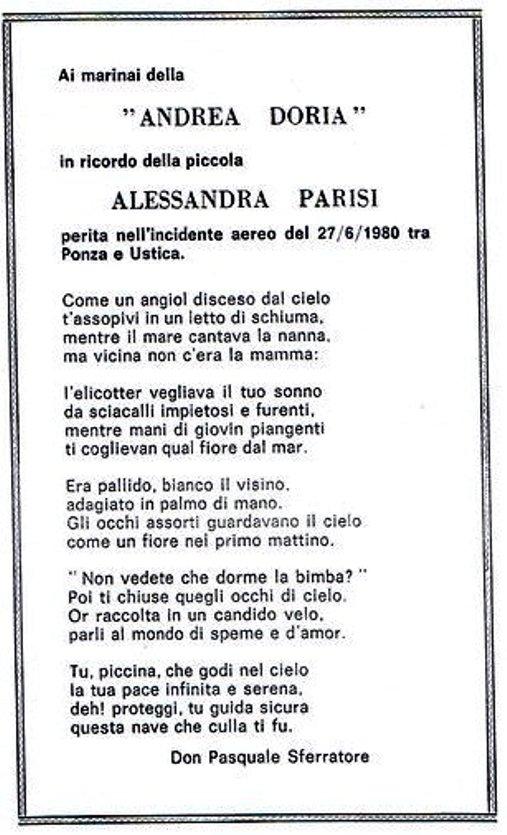 27 giugno 1980 ai marinai dell'andrea Doria e alla piccola Alessandra Parisi - www.lavocedelmarinaio.com