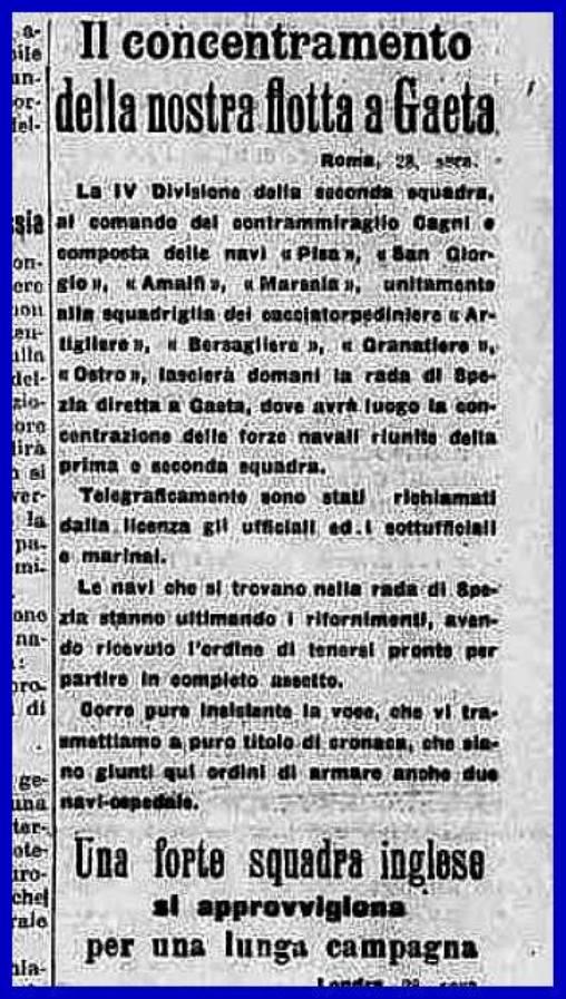 28.7.1914 concentramento delle forze navali a Gaeta (f.p.g.c. Carlo Di Nitto)