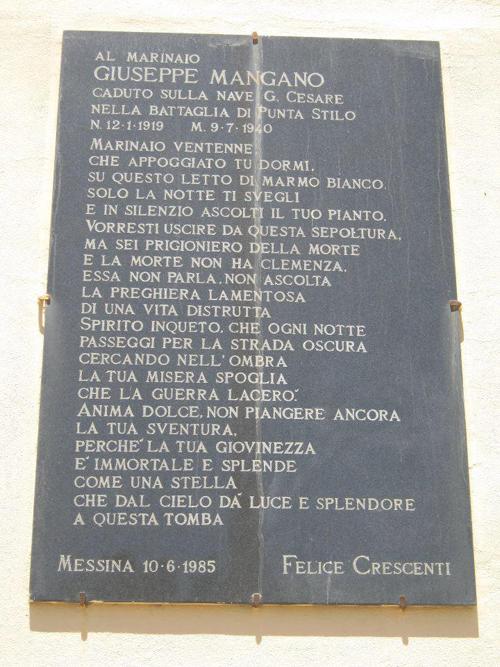 9 luglio 1940 dedicato a Giuseppe Mangano - www.lavocedelmarinaio.com