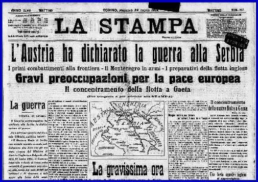 La Stampa del 29.7.1914 (f.p.g.c. Carlo Di Nitto)