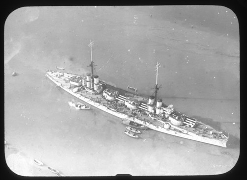 Regia nave Dante Alighieri immagine aerea (foto U.S.M.M.) - www.lavocedelmarinaio.com