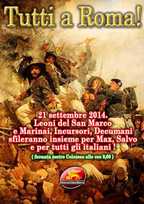 21.9.2014 tutti a Roma per i marò - www.lavocedelmarinaio.com