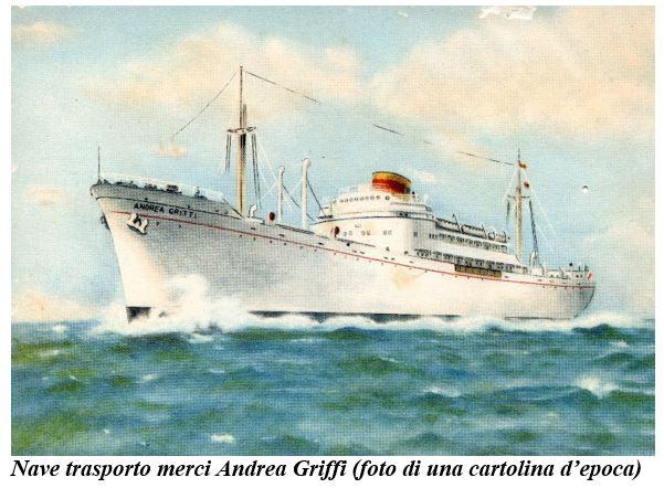Nave trasporto merci Andrea Griffi - Cartolina d'epoca - www.lavocedemarinaio.com