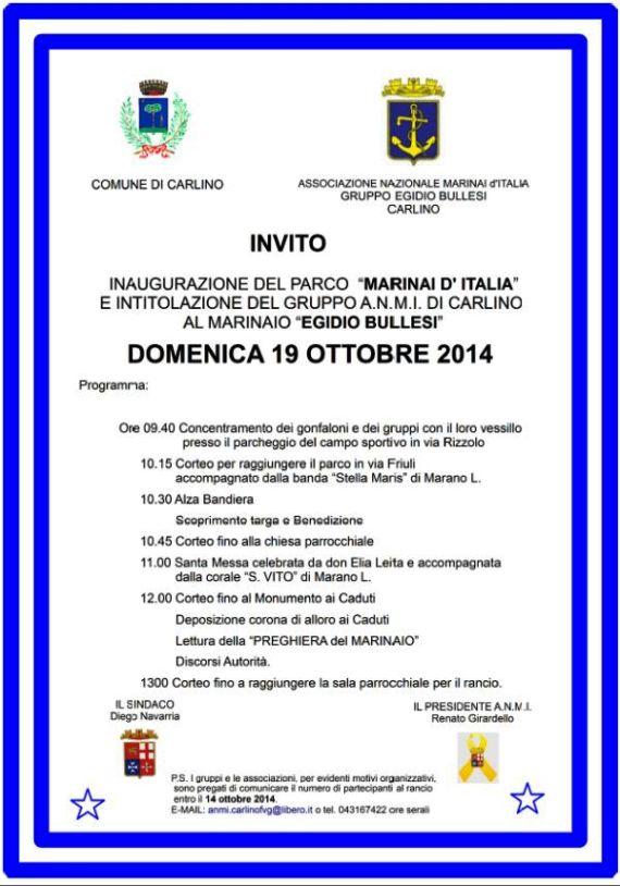 19.10.2014 a Carlino si celebra il Marinaio Egidio Bullessi - www.lavocedelmarinaio.com
