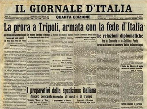 Il giornale d'Italia titola la partenza delle navi per la guerra italo-turca 1911-1912